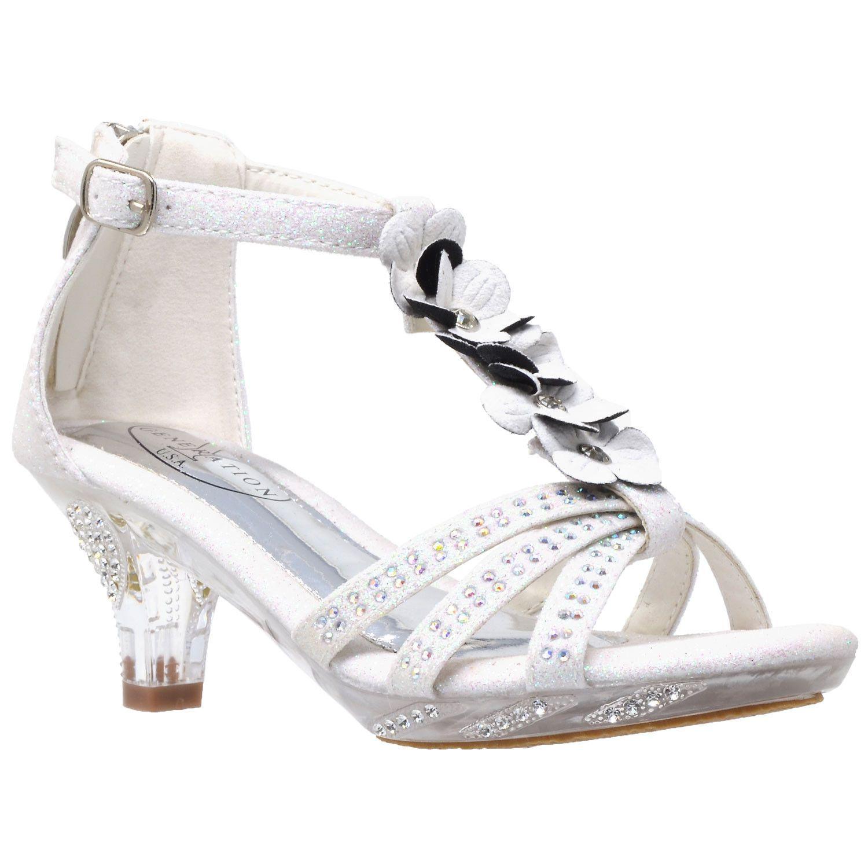9faefdd7557 Kids Dress Sandals T-Strap Flower Glitter Rhinestone Clear High Heels White