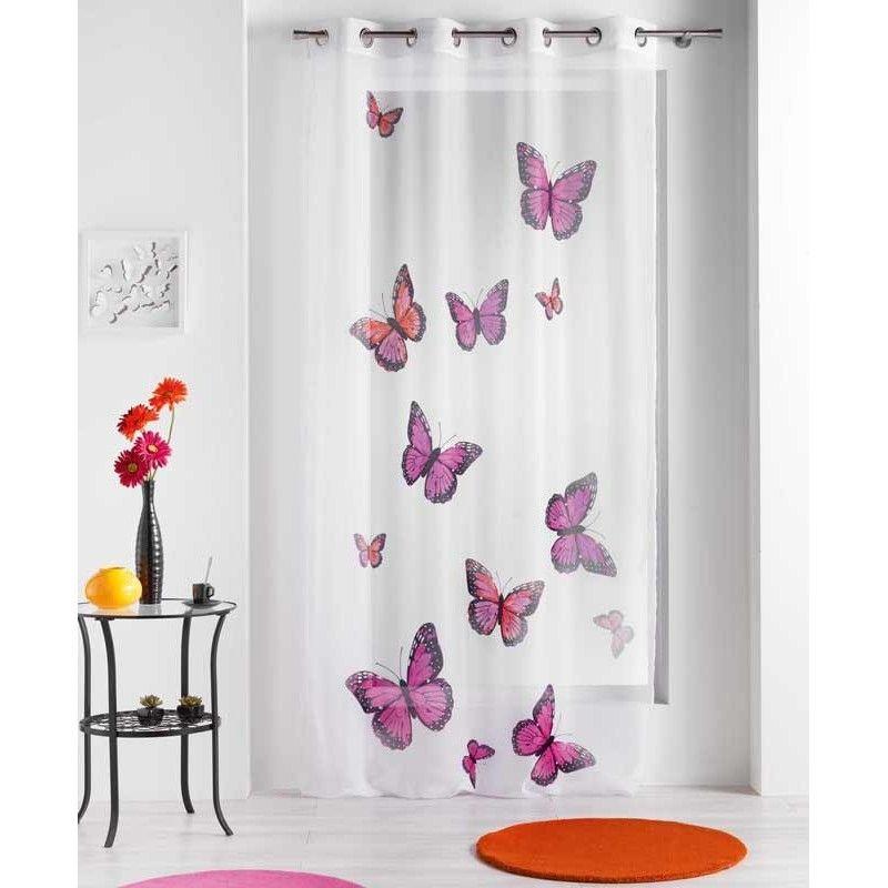 Disponible sur Maisondulinge.fr Rideau voilage Papillons Bella Rose ...