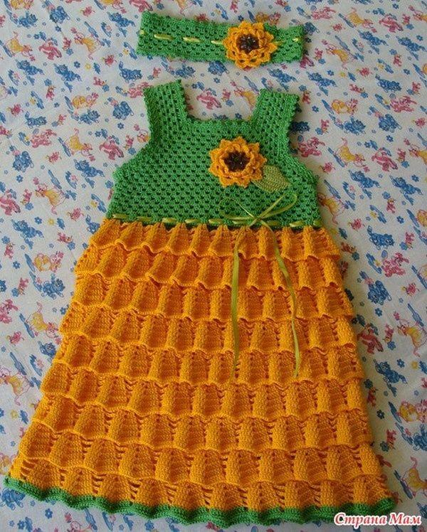 Robe fillette de 3 ans et ses grilles gratuites a faire au crochet pinterest robe - Robe bebe en crochet avec grille ...