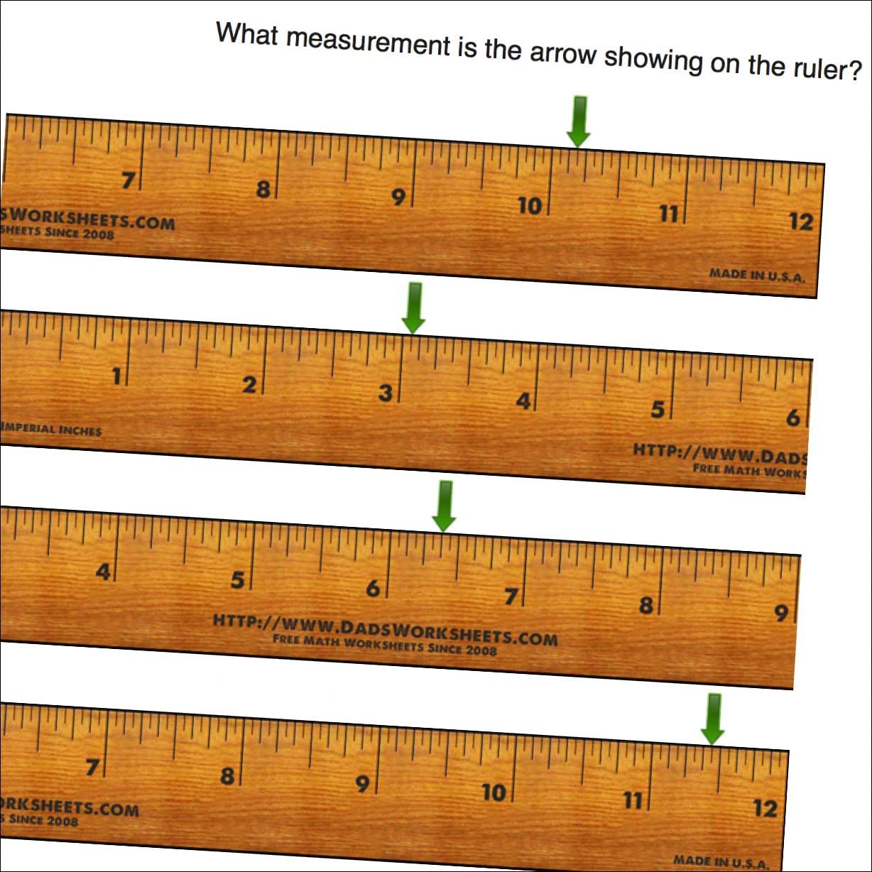 Math Worksheets Inches On Ruler