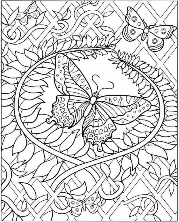 Coloring Pages Of Butterflies For Adults | Colorear, Dificiles y ...