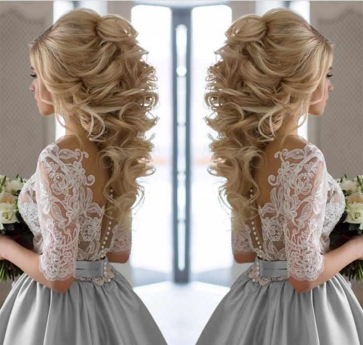 Modest Half Sleeves Lace Appliques Silver Wedding Dresses Satin 2017 #shortbridalhairstyles