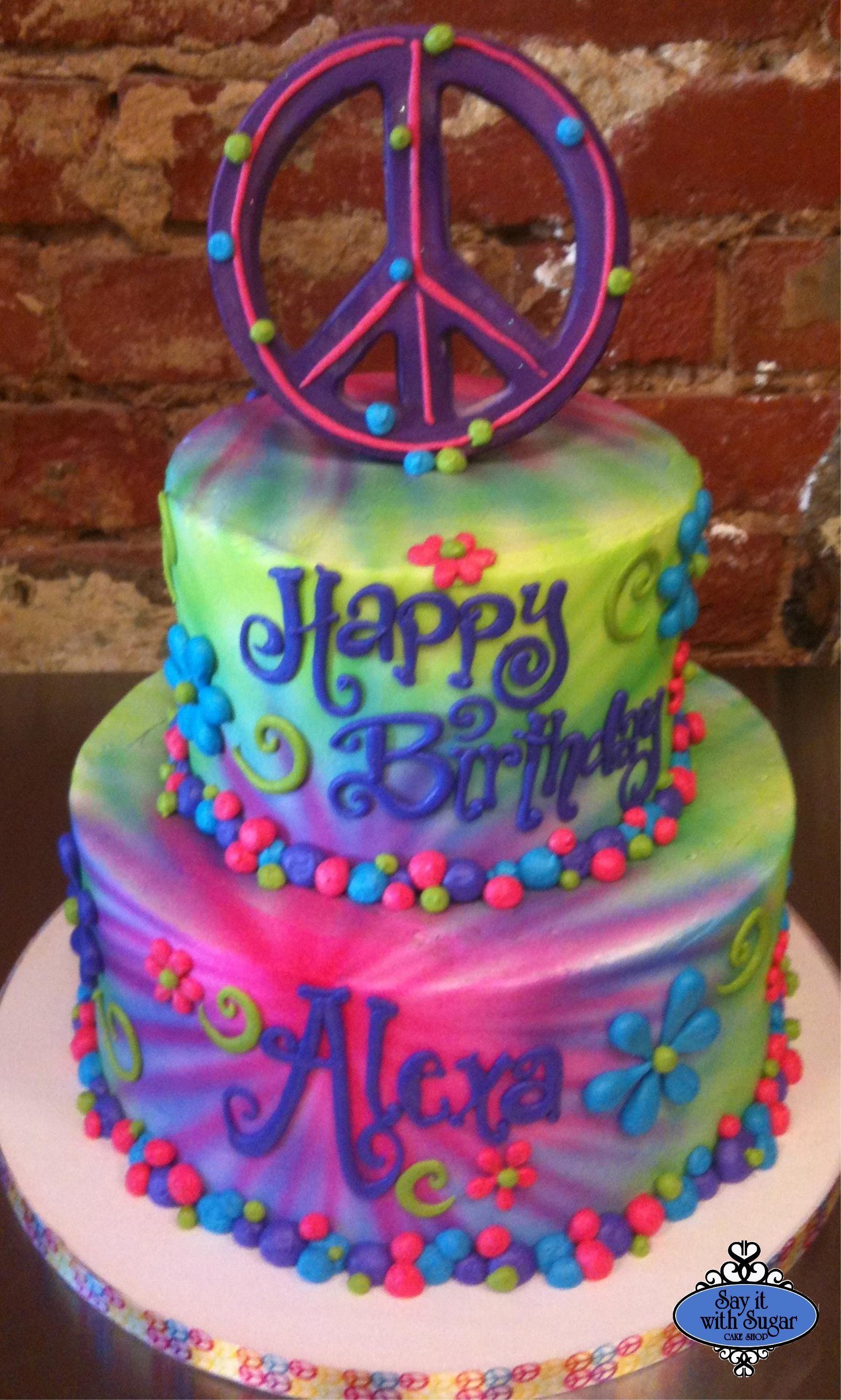 tie dye birthday cake images