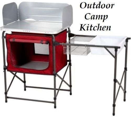 Outdoor Camping Kitchen Table Sink Camp Gear Tent Supplies BBQ ...