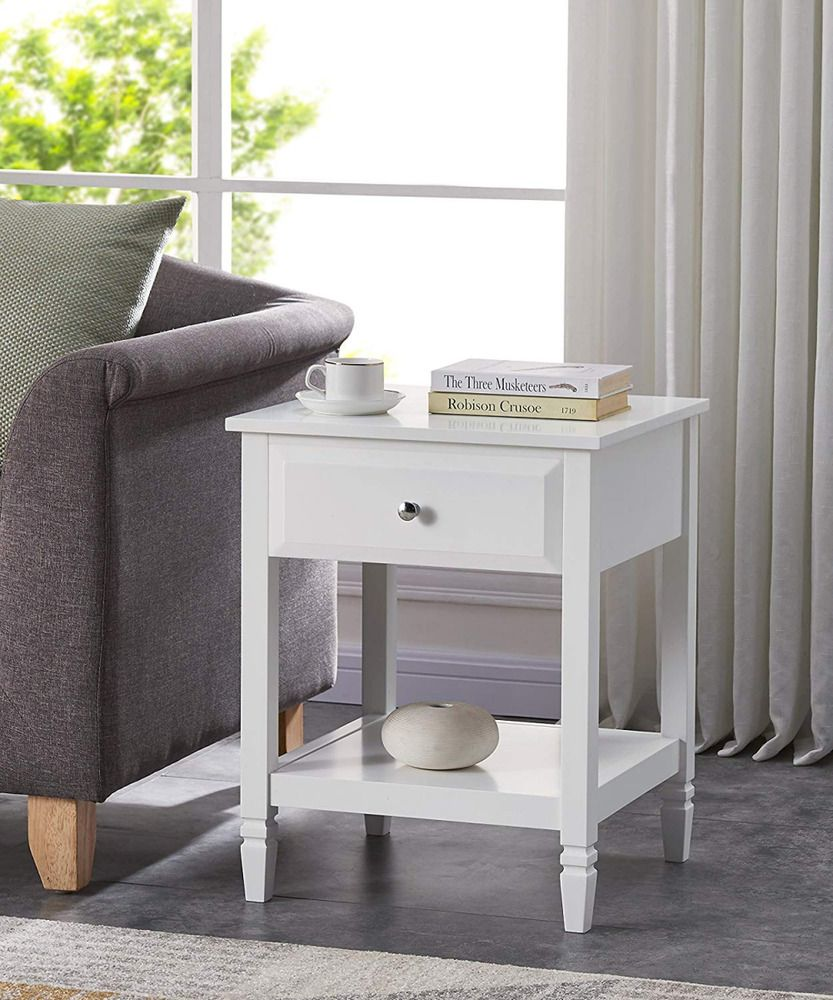 White finish contemporary nightstand side end table with drawer