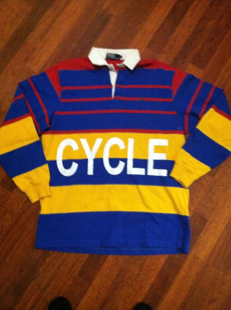 Vintage Ralph Lauren Polo 1992 Rugby Snowbeach GOLF KAYAK CYCLE RIVER CLIMB 13bee97390c