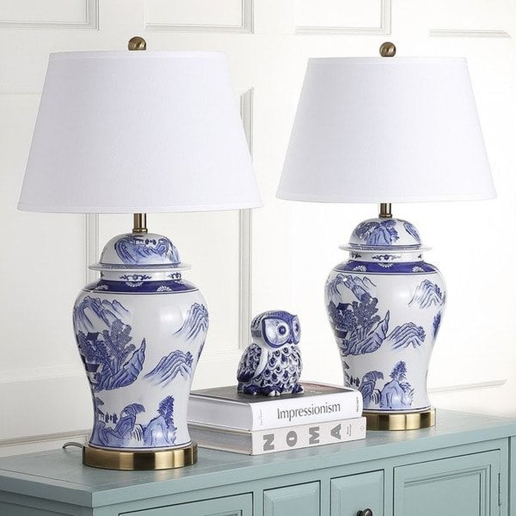 Vintage Reverse Painted Glass Ginger Jar Style Table Lamp
