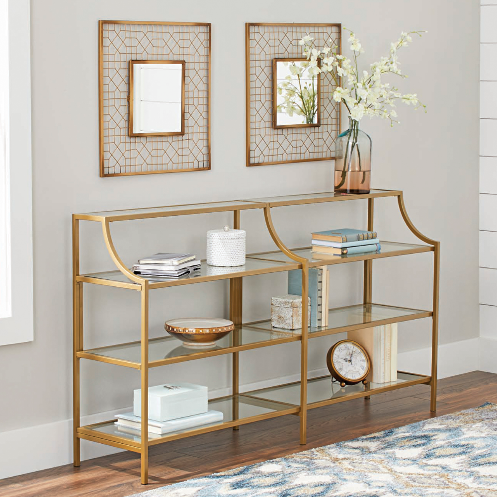 Better Homes Gardens Nola Console Table Gold Finish Walmart Com Console Table Glass Display Shelves Slim Console Table