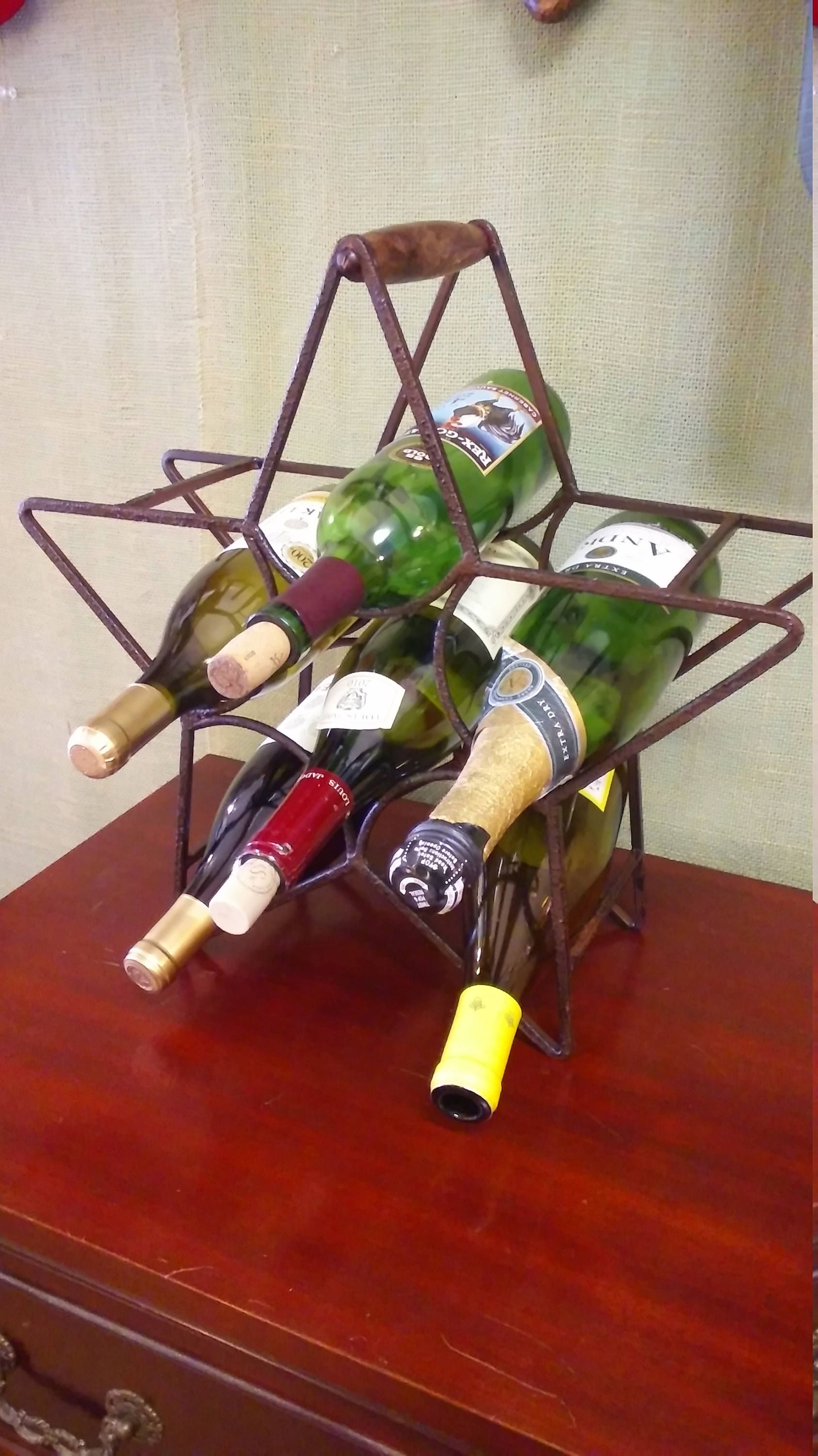 Iron Star Wine Bottle Rack Holder Holds 6 Bottles Etsy Wine Bottle Rack Wine Bottle Wine