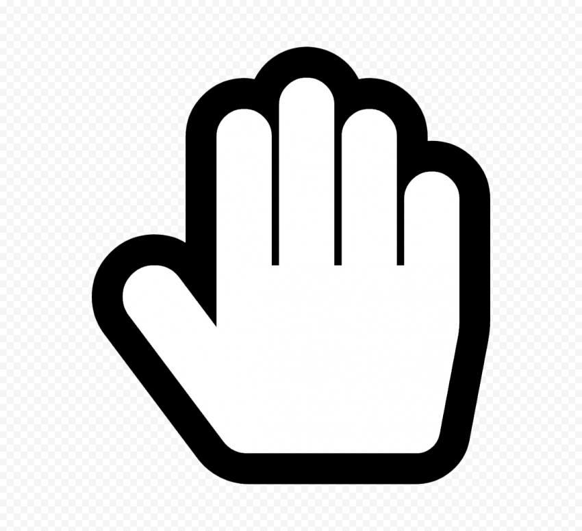 Hd Stop Hand Outline Black White Silhouette Icon Symbol Png Hand Outline Symbols Black And White