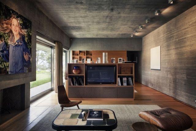 wandgestaltung sichtbeton kontrast laminatboden wohnzimmer ...