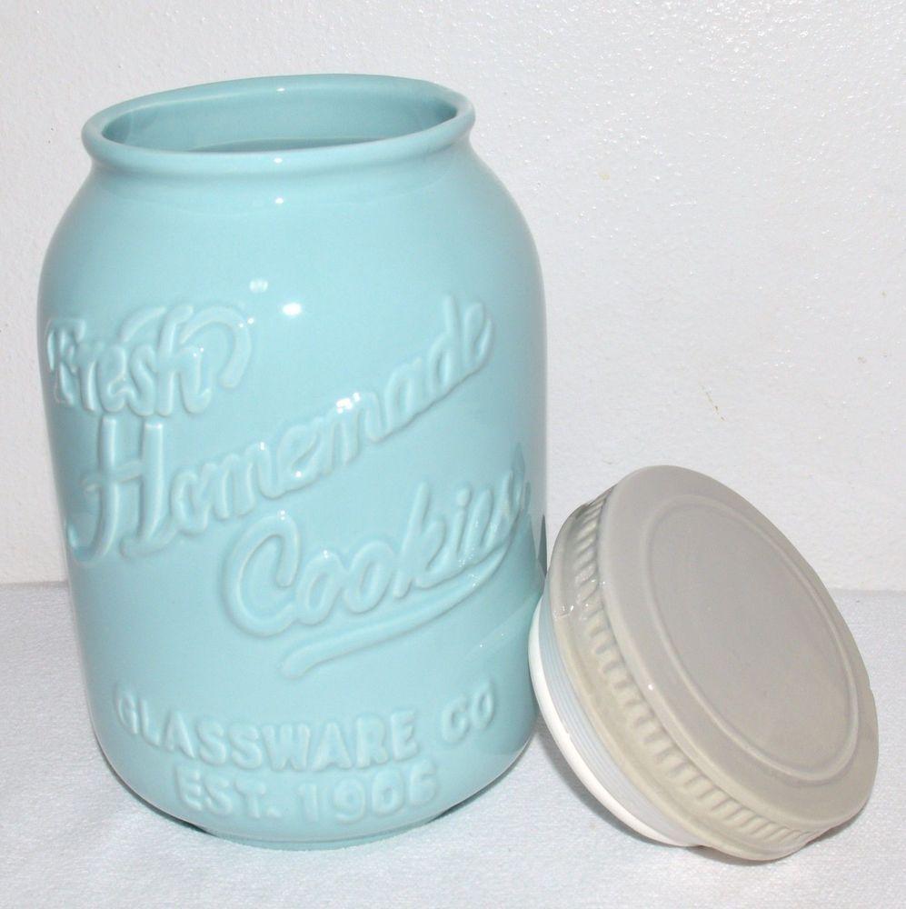 Airtight Cookie Jar Mason Jar Ceramic Cookie Jar Aqua Blue Retro Chic Vintage Airtight 9