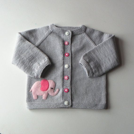 Pink elephant sweater silver grey baby girl jacket merino wool baby cardigan MADE TO ORDER #autumnseason