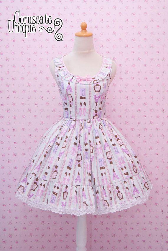 Turquoise Lolita Dress Paris Chocolate Bites - Girl Birthday Dress ...