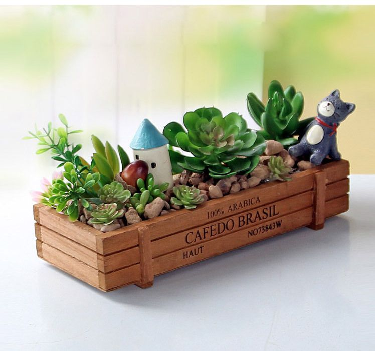 Planters Solid Wood Flower Pots Succulent Plants Flowerpot Pencil Case Porcelain Gift wooden stoarge box Original