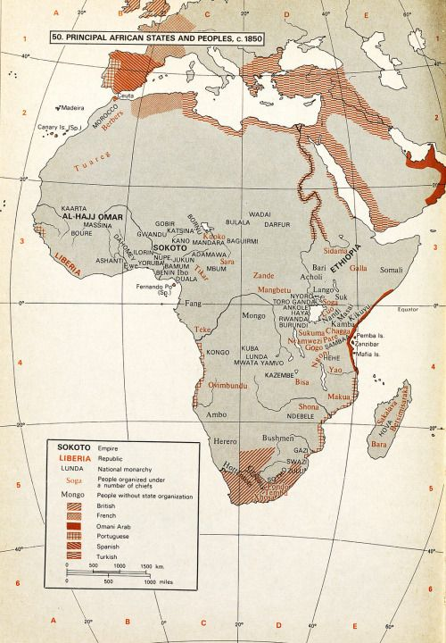 Map Of Africa 1850.Principal African States And Peoples 1850 The Power Of Maps