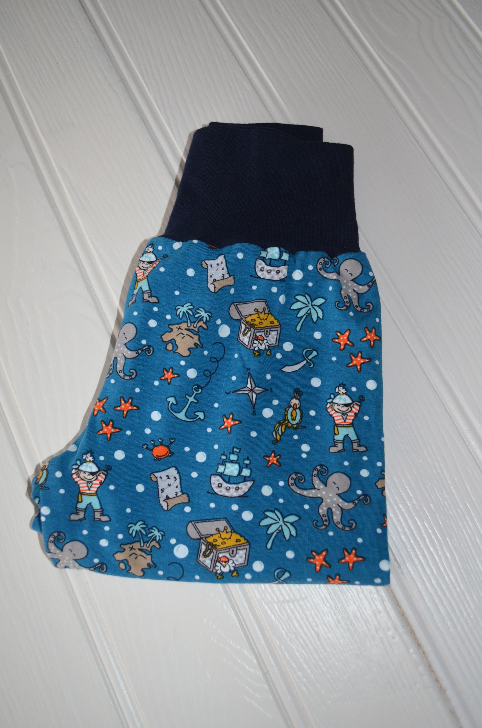 Pirate Harem Pants, Pirate ships, Size 3 years, Under The Sea, Blue Harem trousers, Jersey Harems, Cloth Bum Harems, by BobtailsBoutique on Etsy