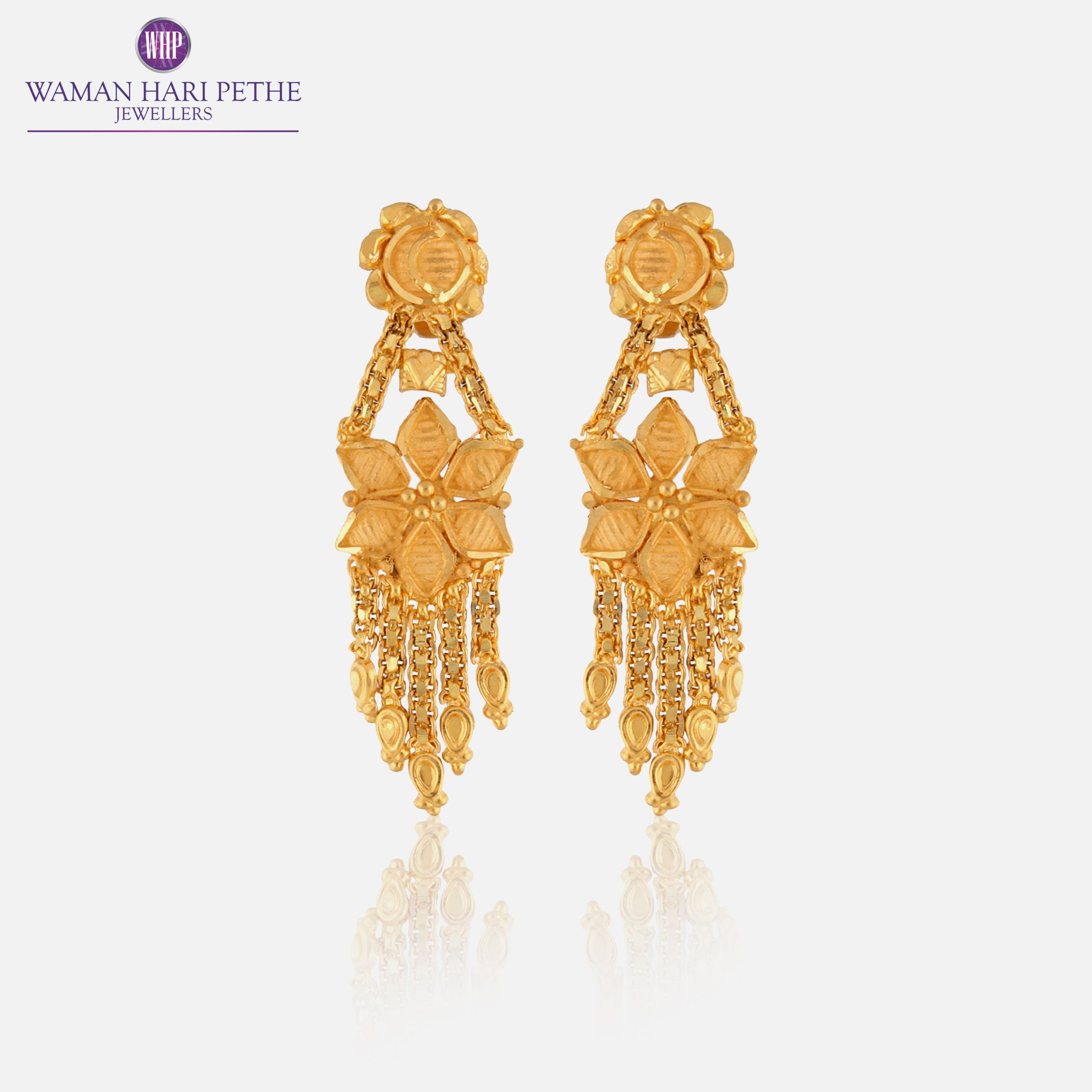 Traditional indian wedding earrings by Waman Hari Pethe. 22Kt gold ...