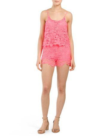 Juniors Neon Crochet Overlap Romper - Jumpsuits & Rompers - T.J.Maxx
