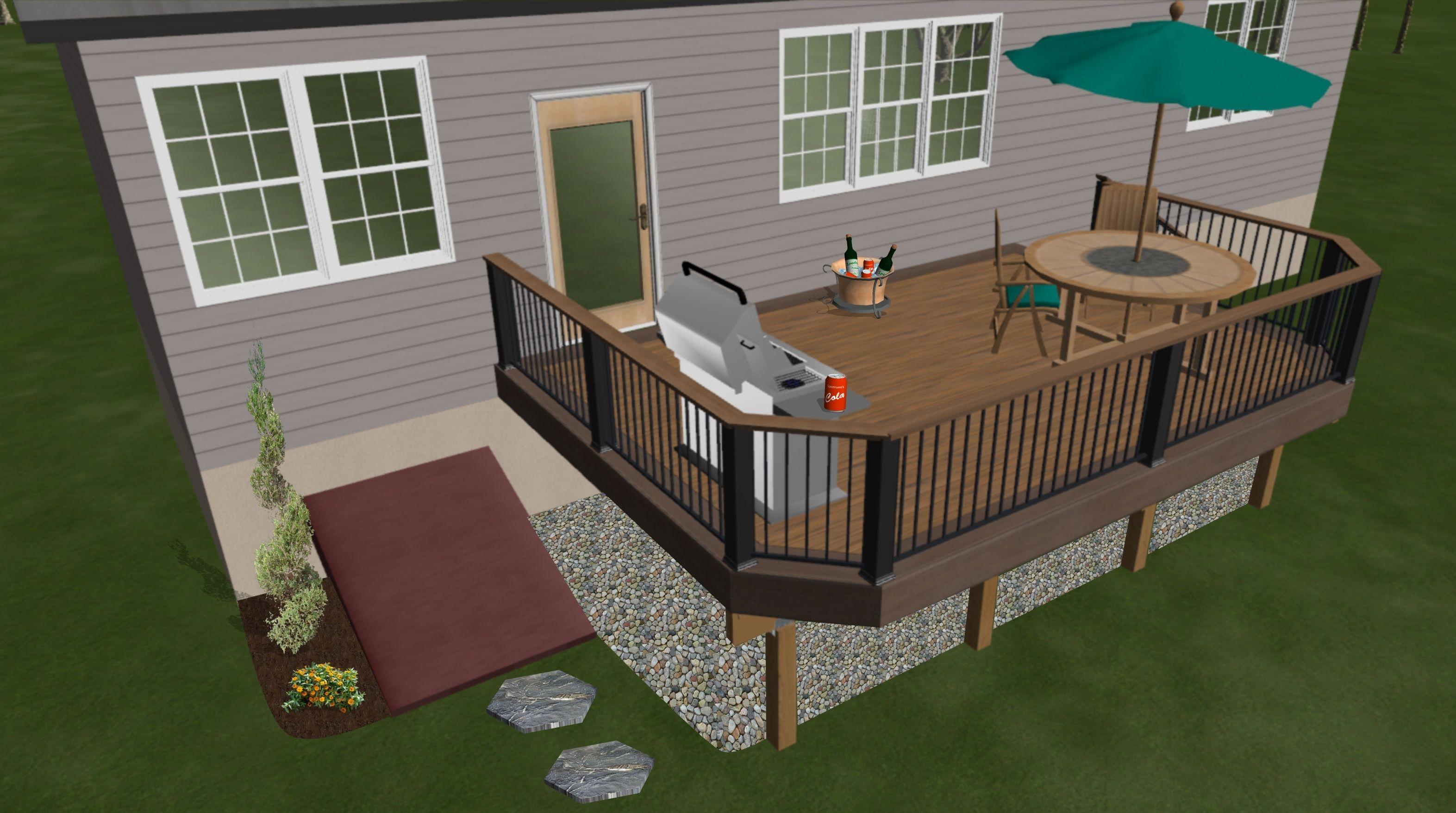 She even open a view window. A Simple Deck Replacement Update Deck Design Decks Backyard Deck