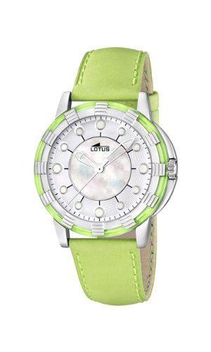 7e8481dcd5f5 Lotus 15747 4 - Reloj analógico de cuarzo para mujer con correa de piel  color verde