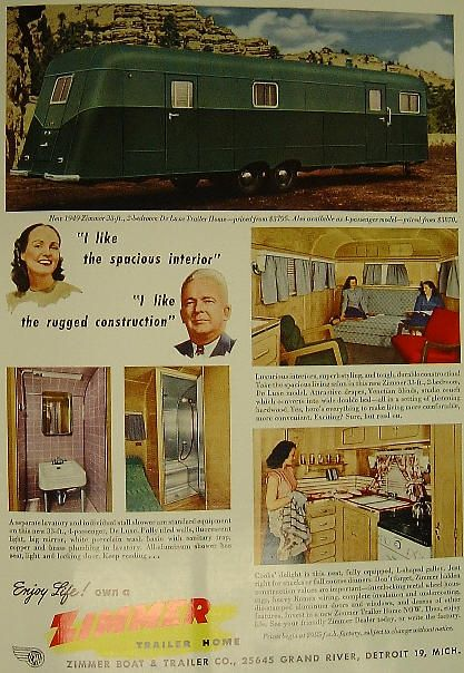 1949 Zimmer Trailer Home Ad, Made in Detroit, MI Trailers - boat bill of sale