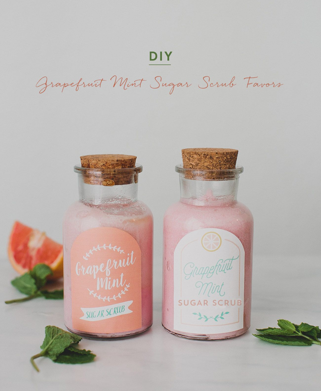 DIY Grapefruit Mint Sugar Scrub Favors | Grapefruit, Favors and Crafty