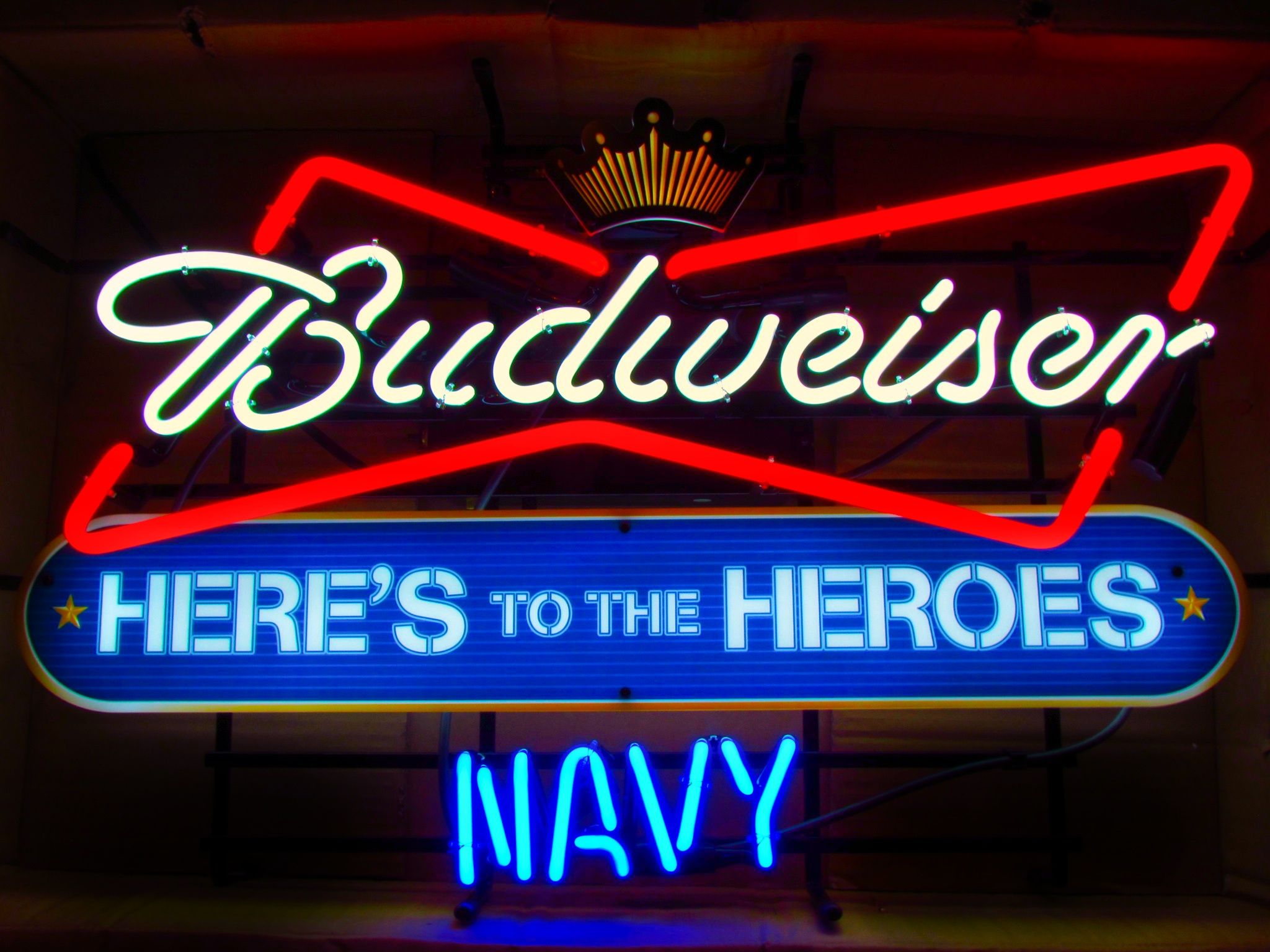Budweiser Us Navy Heroes Neon Beer Sign For Http Bucknashtybiz