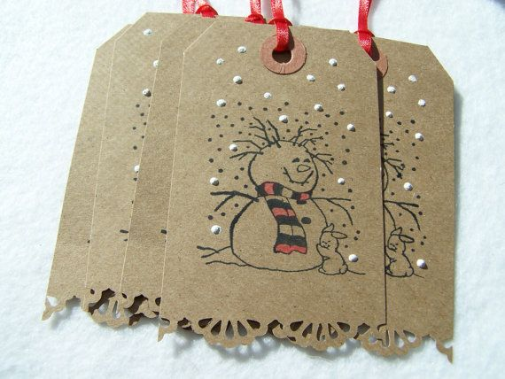 Snowman Christmas Tag Shipping Label Ribboned Tag by WitsEndDesign, $4.75