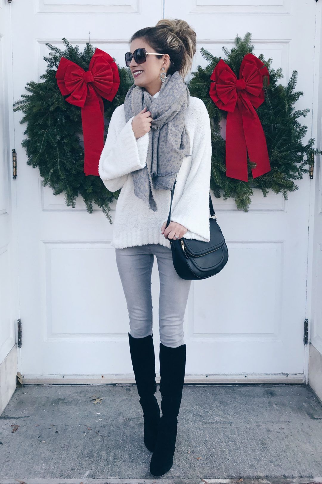 c6b16383e43 holiday outfits with leggings - casual holiday outfit with denim leggings  and knee high boots