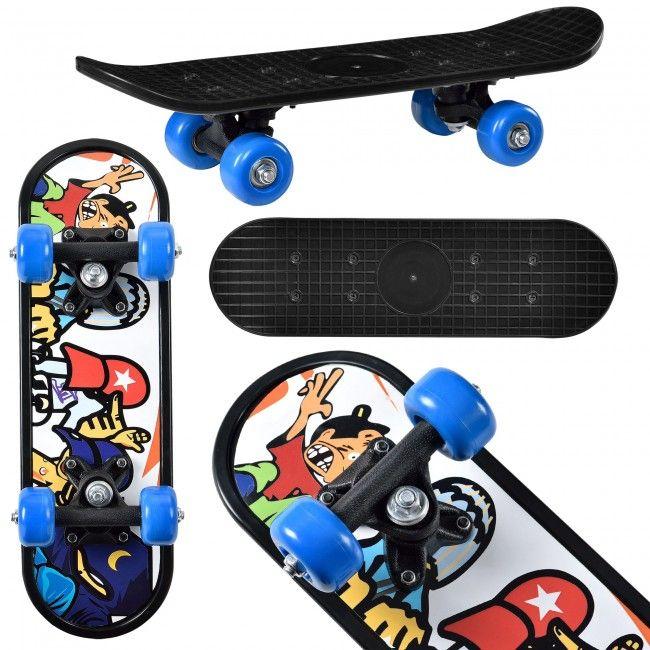 [pro.tec] Skateboard Mini (44 x 13 x 10 cm)(ABEC 7 - Kugellager)(3 Motive) Komplett Board / Retro Board / (Motiv A - Hippster)