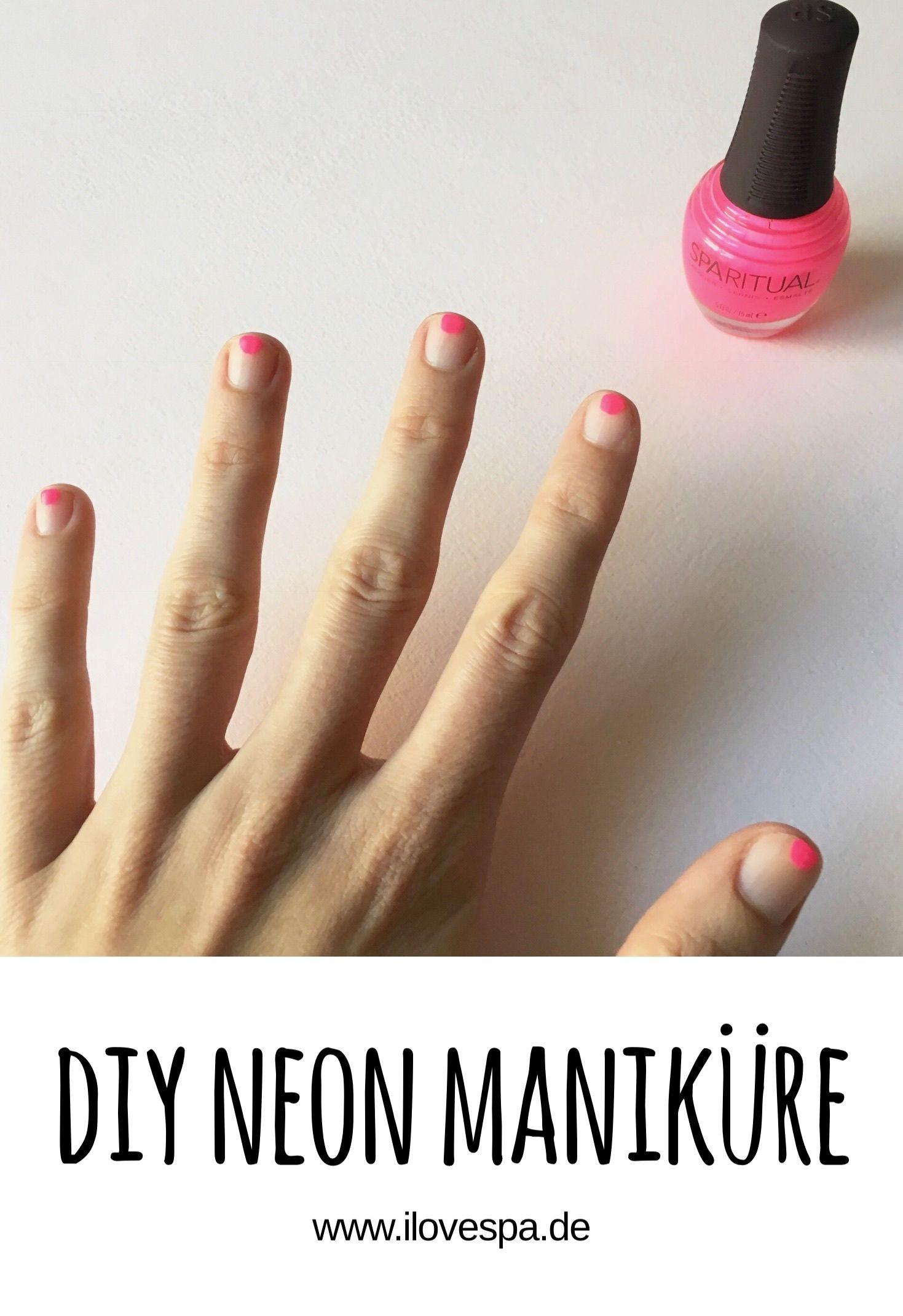 DIY Minimal Manicure #3 - Neon - Nageldesign Natur Neon Pink