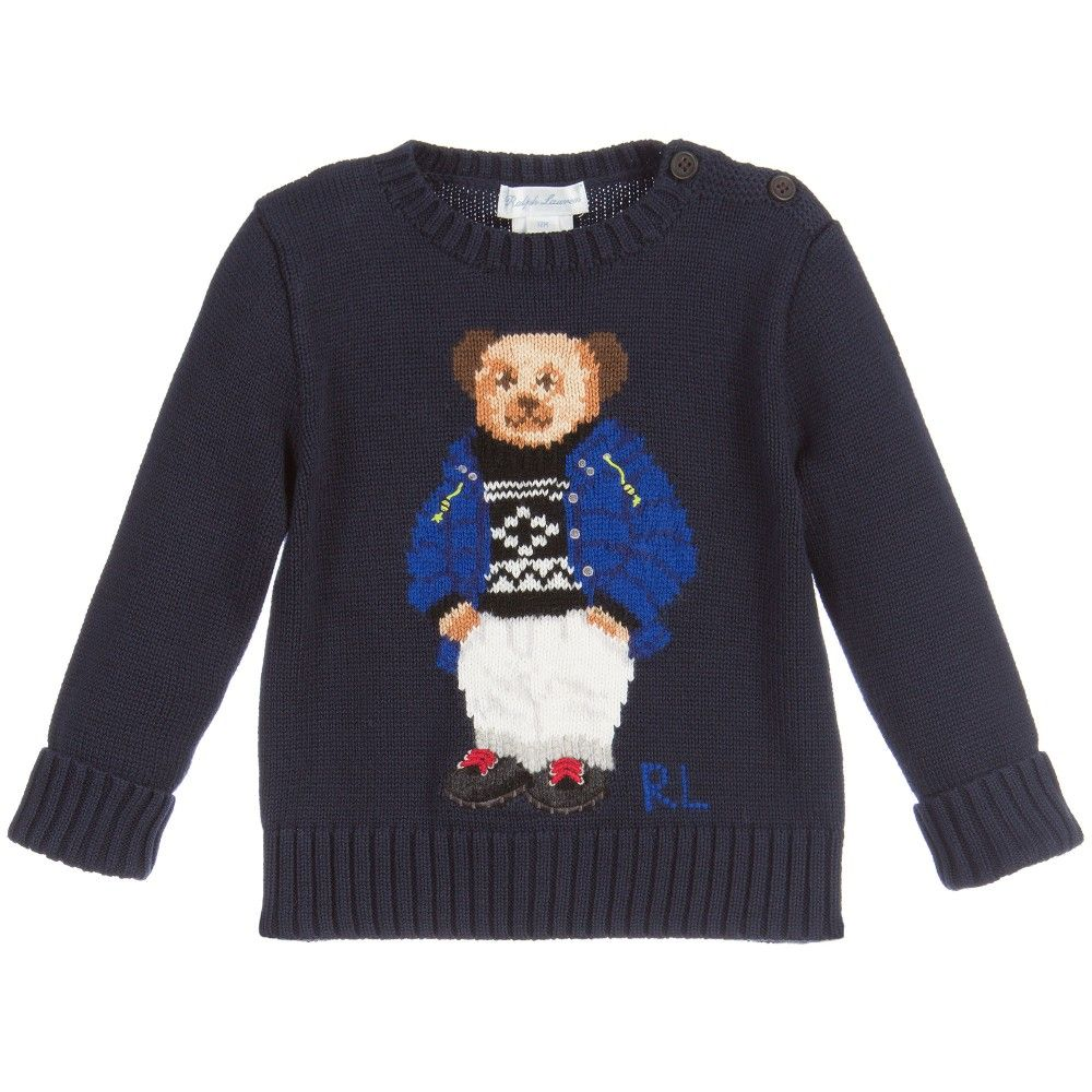 Ralph Lauren Baby Boys Navy Blue Cotton Knit Teddy Sweater | Baby ...
