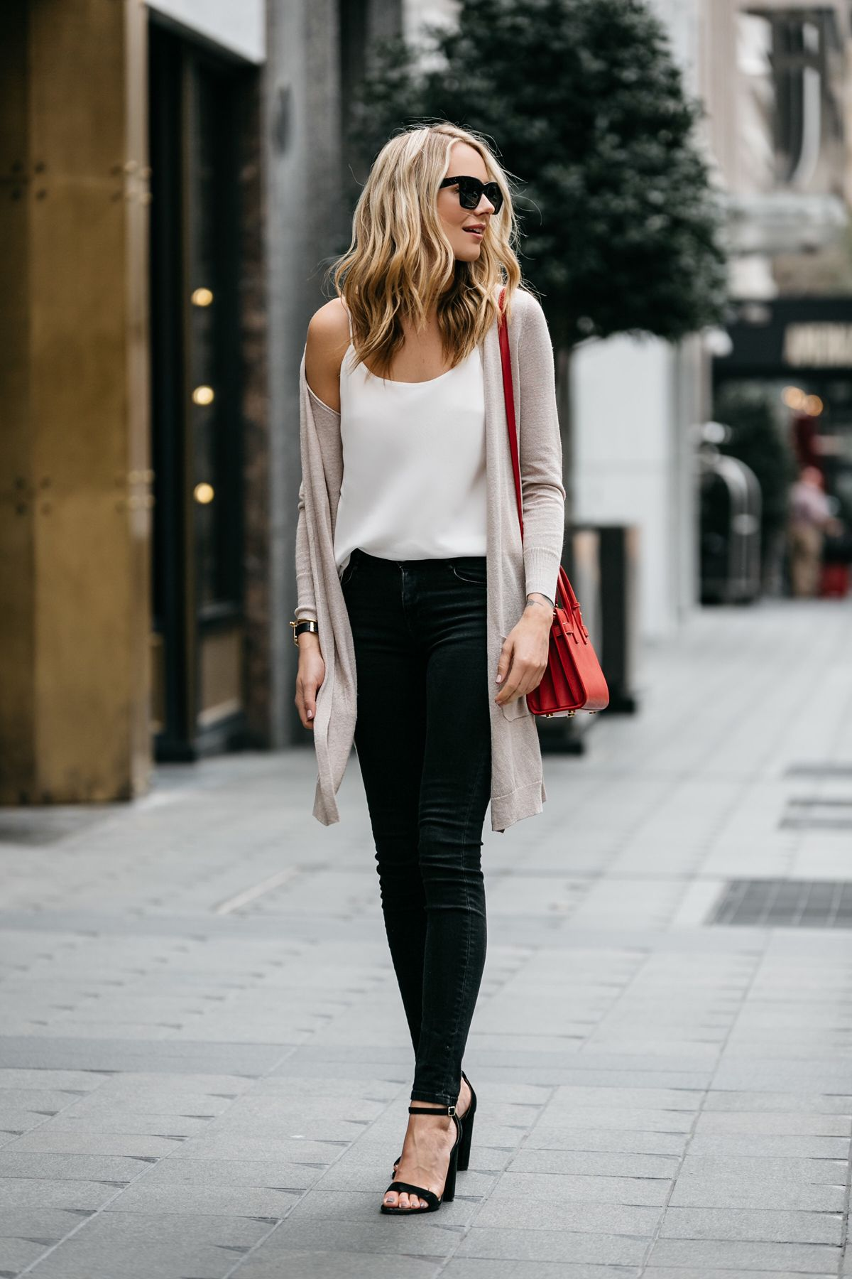 Fashion Jackson, Street Style, Beige Long Cardigan, Club