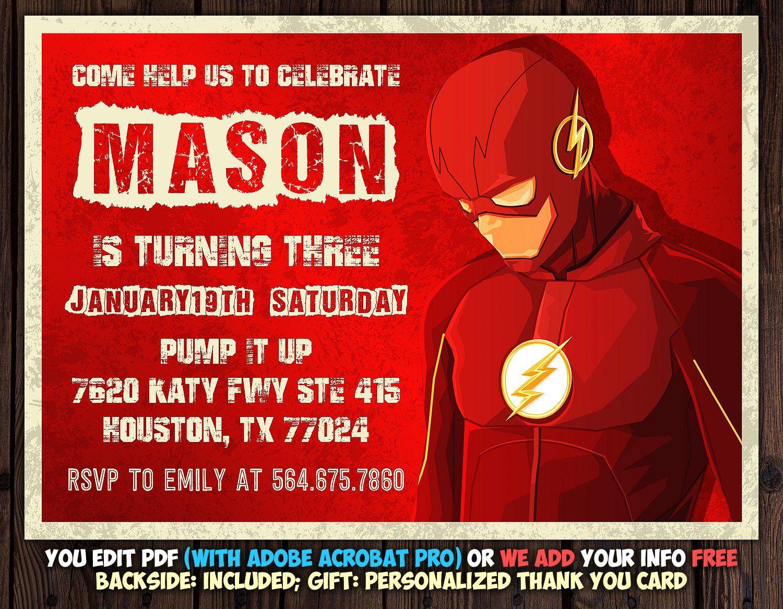 The Flash Invitation The Flash Birthday Invitation Instant