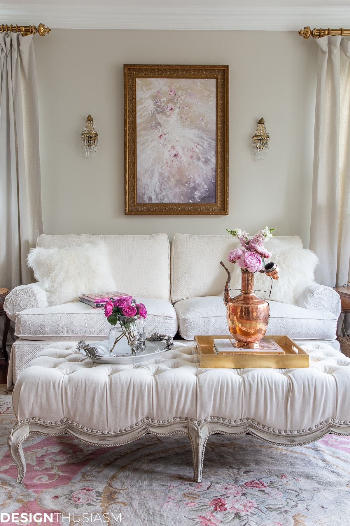 Adding Warmth To Your Living Room Decor With Pink And Copper Accents Copper Decor Living Room French Country Decorating French Country Living Room #pink #decorations #for #living #room