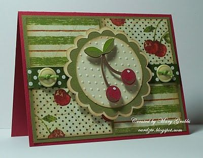 A very creative cherry card with a wonderful video tutorial...get out the Cricut machine...#CherryCard #Cherries