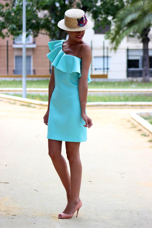 Vestido aguamarina con canotier a juego | vestidos | Pinterest ...