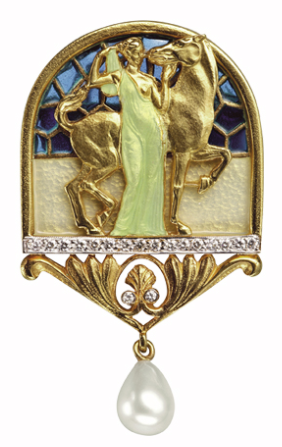 BEAUTY AND STRENGTH PB-290. NYMPHS. 18 carat yellow gold pendant brooch with fired enamel, brilliant-cut diamonds and a cultured pearl.   --Bagués Masriera-- Barcelona Jewellers since 1839