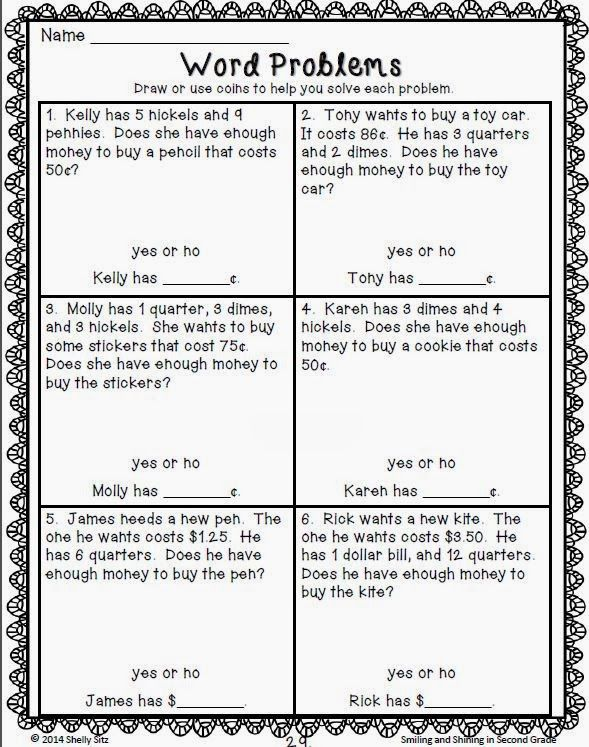 smiling and shining in second grade money kool classroom math pinterest math word. Black Bedroom Furniture Sets. Home Design Ideas