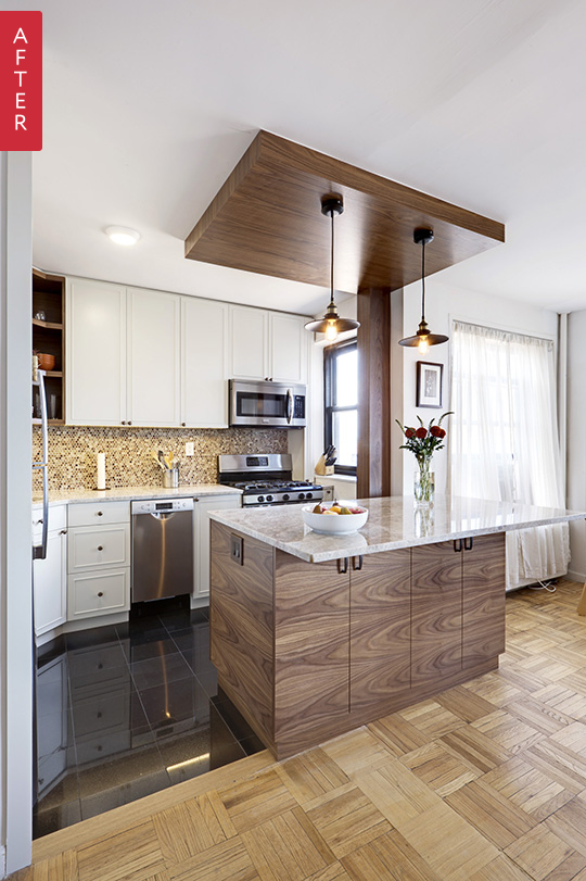 Great Use Of An Island For Storage E Before After A Tiny Brooklyn Kitchen Opens Up Sweeten