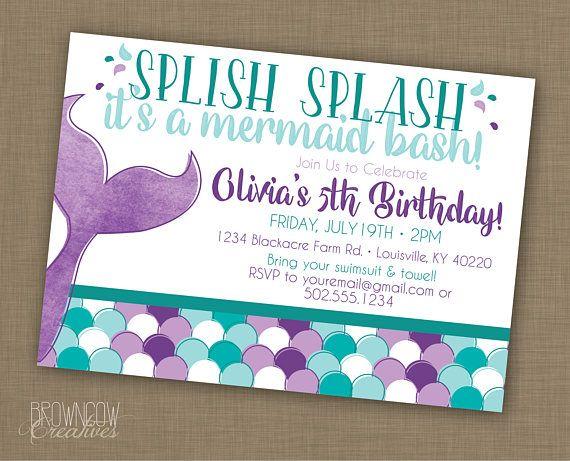 mermaid birthday party invitation // printable // under the, Birthday invitations
