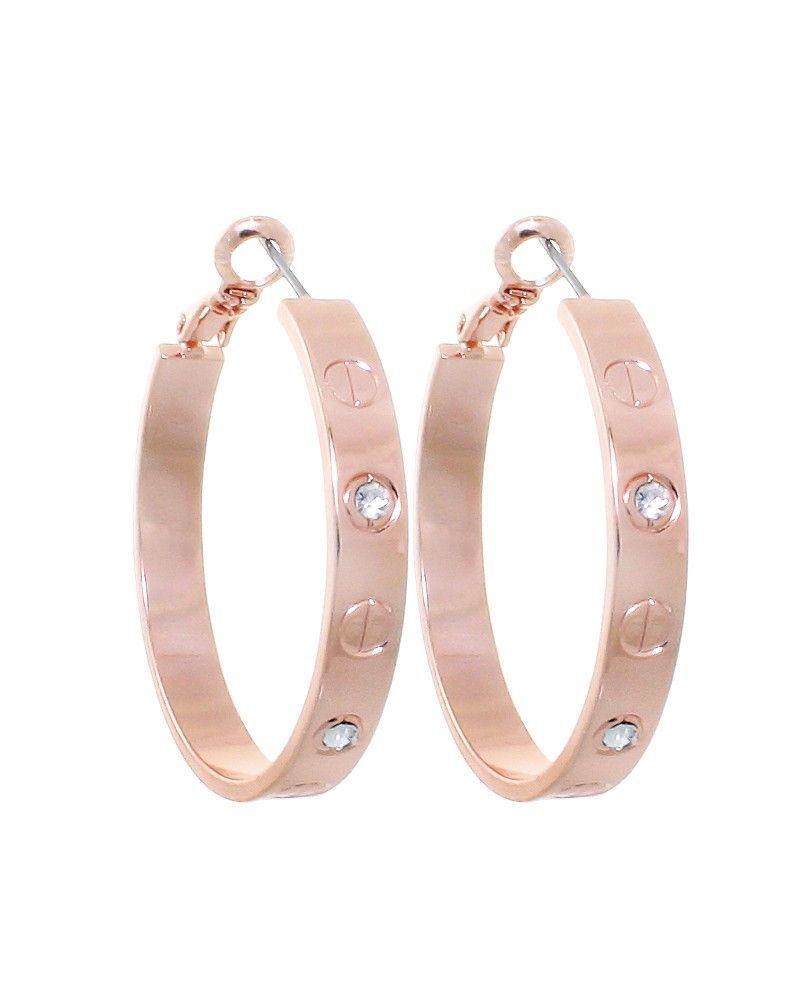 Rosegold Diamond Love Inspired Hoop Earrings