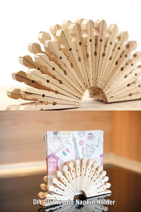 Rustic Upcycled Clothespin Napkin Holder