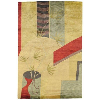 Red Barrel Studio Jamaris Floral Hand Knotted Beige Area Rug Wool Area Rugs Rugs Area Rugs