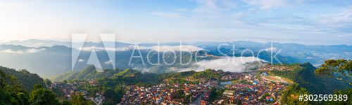 Aerial view of Phongsali, North Laos near China. Yunnan style town on scenic mountain ridge. Travel destination for tribal trekking in Akha villages. Fog and mist in the valley. , #Ad, #Yunnan, #China, #style, #scenic, #town #Ad