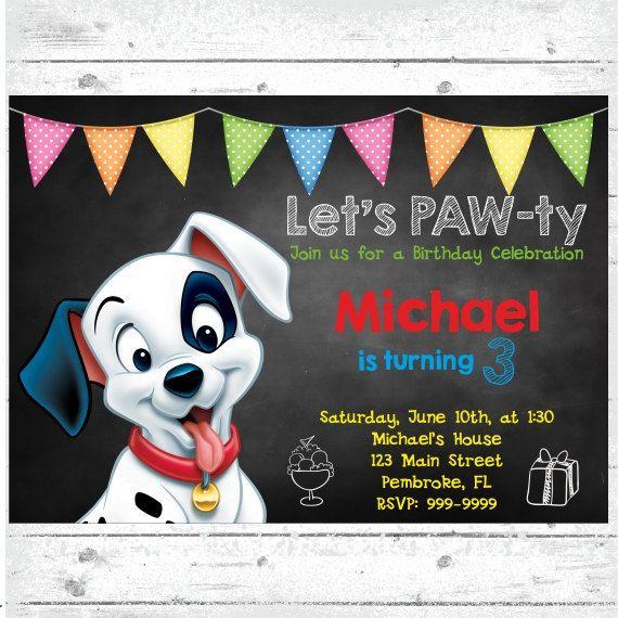 Puppy Birthday Invitation Puppy Theme Party 101 Dalmatians