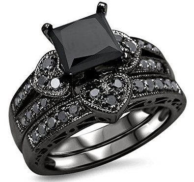 black heart princess cut diamond engagement ring bridal set - All Black Wedding Rings