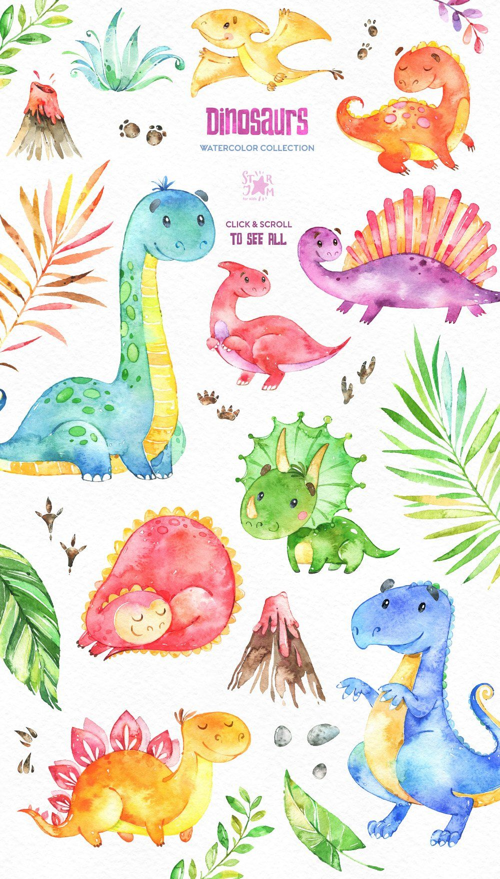 Dinosaurs. Watercolor collection. ~ Illustrations ~ Creative Market #dinosaurillustration