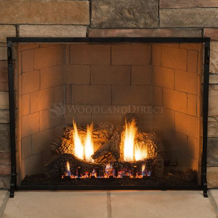 Plain Flat Fireplace Screen - 38